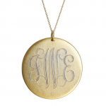 Goldenthread Antiqued Large Gold Disc Initial