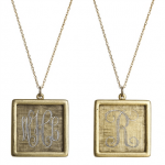 Goldenthread Antiqued Square Initial Necklace
