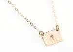 Jill Massey Tiny Rectangle Initial Necklace